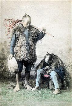 Japanese Peasants, pre 1900. Handcolored japanese albumen print. Unidentified photographer.