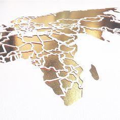 Kristine Braanen is a paper cutting artist in Oslo, Norway   Papercut World Map - Detail