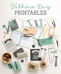 Free Father's Day Printables | Tiny Me  Printable set includes: coupon book, Father's Day cards, necktie banner, cupcake picks, candy bar wrappers and more! #fathersdayprintables #happyfathersday #freeprintables