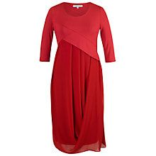 Buy Chesca Jersey/Chiffon 3/4 Sleeves Dress, Red Online at johnlewis.com