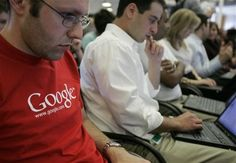 Google employees work on laptops at Google headquarters in Mountain View, Calif., in 2007. In a groundbreaking disclosure, Google on Wednesday revealed 2 percent of its employees are African-American, 3 percent are Hispanic, and 30 percent are women. The tech giant said the transparency about its workforce is an important step toward change. <br> The Associated press
