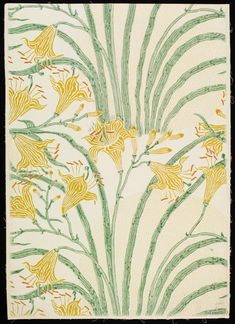Portion of 'Day Lily' wallpaper; lilies with yellow flowers and green foliage, on a pale ground featuring areas of yellow circles; Designed by Walter Crane; Colour woodblock print on paper; Produced by Jeffrey & Co. Lily Wallpaper, Walter Crane, Designer Wallpaper, Wallpaper Designs, Day Lilies, Woodblock Print, Yellow Flowers, Art Decor, Design Inspiration