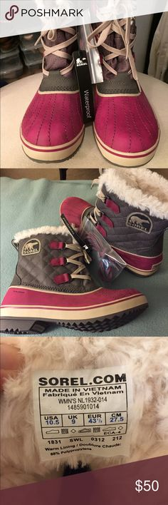 ⭐️PRICE DROP⭐️Sorel Tivoli Boots Sorel Tivoli Boots. New with tags and alternate set of pink laces. These winter staples include a fuzzy lining and pink waterproof toe. These would be a fantastic addition to a winter lovers closet. Sorel Shoes Winter & Rain Boots