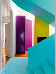 Colour layering Lisbon apartment