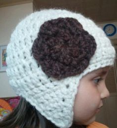 baby owl hat // wood with pink flower by OwlsNestCrochet on Etsy, $22.00