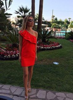 red strapless off the shoulder dress, red ruffle dress, red mini dress - Lyfie
