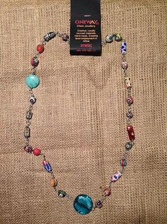 African Trade Beads & recycled glass bead long necklace