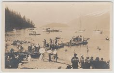 WHYTECLIFF, BC - Photo postcard c.1920-1925 with a large gathering at Whytecliff in West Vancouver, now the site of the Horseshoe Bay ferry terminal.