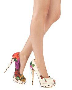 fbfd540ea4aaa3 Ted Baker floral print heels. i d dieeee for these babies. Dsw had