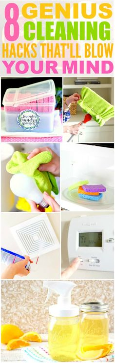 These 8 Genius Cleaning Hacks and Tips are THE BEST! I'm so glad I found these AWESOME ideas! Now my home will be super neat and clean with these tips and tricks! Definitely pinning!