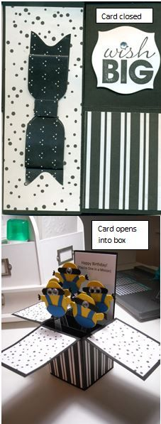Using Frenchie Martin's box recipe, and this website for the Minion's made with the owl punch Minion instructions using the Owl punch.http://craftypawsbytrisha.blogspot.com/2013/06/minion-card-from-despicable-me.html.  DP is old and unknown. Used envelope punch board for the bow.