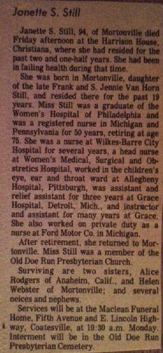 Genealogical Gems: Sunday's Obituary: Jennette Still