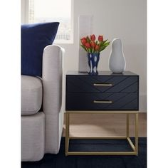 Shop Tommy Hilfiger Ellias Table, Black and Gold - Overstock - 29603477 - Bedside Table Bedroom End Tables, Bedside Table Decor, Modern Bedside Table, Bedroom Night Stands, Black Bedside Tables, Night Stand Decor, White And Gold Nightstand, Nightstand Ideas, Bedside Table Design