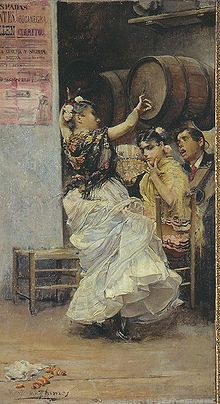 "José García y Ramos: ""Baile por Bulerías"", oil on canvas, Dimensions: 52 × 28 cm, Current location: Museum of Fine Arts of Seville; Spanish Painters, Spanish Artists, Spanish Dancer, Flamenco Dancers, Museum Of Fine Arts, Sculpture, Portraits, Ancient Art, Beautiful Paintings"
