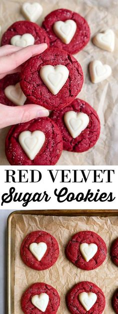Small batch cookies: red velvet sugar cookies for Valentine's Day dessert for two. Small batch cookies: red velvet sugar cookies for Valentine's Day dessert for two. Valentines Day Cookies, Valentines Day Desserts, Kids Valentines, Valentines Baking, Valentine Party, Christmas Cookies, Valentine Treats, Valentine Sugar Cookies Recipe, Sugar Cookie Recipe Small Batch