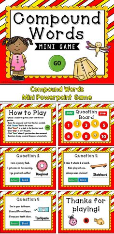 Engage students with this fun, interactive compound words game. In this mini game, students are given clues to what an object is. Each object is a compound word. Each question includes 3 clues and picture.