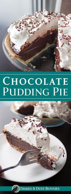 "Chocolate Pudding Pie - uper simple to make and it could technically even be considered a ""no-bake"" recipe if you don't count the pie crust!"
