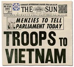 In 1962 the Australian government, led by Sir Robert Menzies, sent a group of 30 military advisers to Vietnam. The decision to become involved in a conflct in Vietnam began one of the most controversial eras in Australias history.