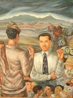 """Homenaje a Mario Moreno """" Cantinflas """", obra realizada por el muralista chileno Fernando Marcos en 1952."""