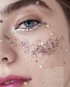 The Starfall Glitter Makeup is made of glittering stars that make you to shine anywhere. Star Makeup, Makeup Art, Beauty Makeup, Glitter Make Up, Glitter Gel, Glitter Face Makeup, Makeup Inspo, Makeup Inspiration, Cute Makeup