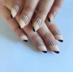 Easy Nail Art Designs-Easy Ideas for Nail Art-RUNWAY CHIC Grab your nude and black polishes and get started on this runway design. Visit redbookmag.com for more spring trends.