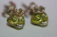 Aus Omas Schmuckkästchen - Fröschchen Emaille Ohrringe 925er Silber