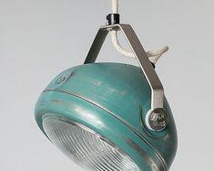 Nr. 5 Scheinwerfer Pendelleuchte Aqua-hergestellt aus Vintage Scheinwerfer-Hängelampe mit Eisen Kordel