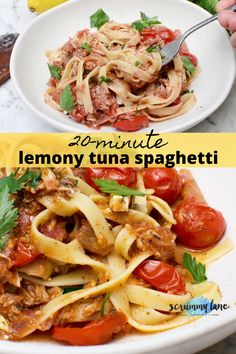 For a quick and easy pantry meal, just grab a can of tuna, a can of tomatoes, a lemon and make this quick and easy lemony tuna pasta. Ready in just 20 minutes, it's a crowd pleasing easy midweek meal the whole family will enjoy! Easy Meals For Two, One Pot Meals, Quick Easy Meals, Midweek Meals, Healthy Family Meals, Easy Pasta Recipes, Healthy Recipes, Tuna Pasta, Easy Party Food