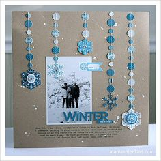 Love this one page layout.. I think I would do the occasional rhinestone in various sizes instead of the circles up and down the string.