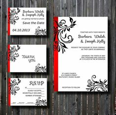 Wedding Invitation Suite Diy Printable Red And Teal Fancy Flourish Scroll Set Print Your Own