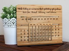 A unique perpetual calendar - just slide once a month to update it. Engraved with your choice of wording and font styles; makes a fantastic gift - especially for Mothers day or Fathers Day! Stands 21cm tall, with an integrated non-removable stand. * How to use the calendar At the