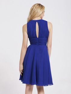 Bateau Sleeveless Knee-length Royal Blue Evening Dresses ED0780
