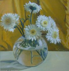 Buy 'Flowers' by Elena Oleniuc as a Greeting Card. Acrylic painting on paper Featured in Acrylic PaintingApril 2009 The Top TenPainted FloralsWhite Flowers Acrylic Painting On Paper, Wonderful Flowers, Gerbera, Botanical Prints, Flower Art, Glass Art, Daisy, Art Gallery, Greeting Cards