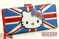not crazy about Hello Kitty, but i love the England flag and the bow :) Hello Kitty Merchandise, Cartoon Elephant, British Things, Hello Kitty Collection, Long Wallet, Clutch Wallet, Sanrio, Pink Ladies, Flag