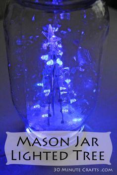Mason jar lighted tree