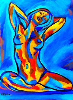 Helena Wierzbicki Artwork: the happy girl | Original Painting Acrylic | Abstract Figurative Art
