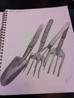 This is a sketch of some garden tools. This is also an example of the type ...