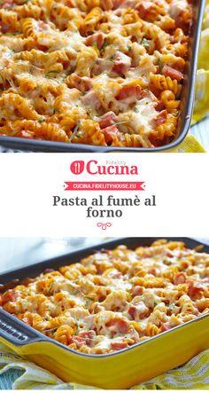 Pasta al fumè al forno - Yummy 3 Chicken Wing Recipes, Pasta Recipes, Cooking Recipes, Polenta, Smoked Salmon Pasta, Pasta With Peas, Crepes, One Pot Pasta, Pasta Dishes