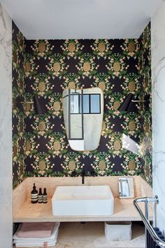 Gravity Home: Bathroom with wallpaper