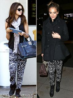 Fashion Faceoff | SELENA VS. JESSICA  | Forget sweats. These printed Lauren Moshi harem bottoms are the official lounge pants of Hollywood. All the cool girls (Selena and Jessica) are sporting them.