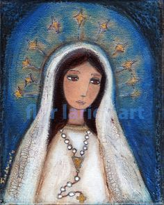 Our Lady of Lourdes with Rosary  Folk Art  Print by FlorLarios, $15.00