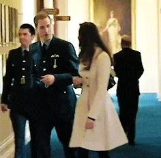 Prince William and Catherine Middleton walking together after he received his RAF wings on April 11th, 2008.