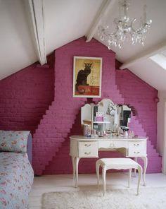 Inspirações – quartos com tijolos aparentes!!