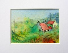 Sunlit cottages after rain, Isle of Arran.Original mounted mixed media ACEO by ChildrenoftheMist on Etsy https://www.etsy.com/listing/272793000/sunlit-cottages-after-rain-isle-of