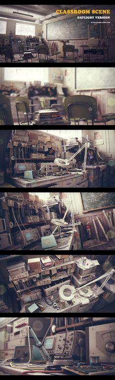 realistic classroom rendering