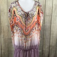 Evolution by JMS Sheer Floral Ombre Womans Plus Size Blouse 1X Pink Orange White    eBay