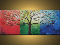 Acrylic Paintings of Trees | tree painting Acrylic Contemporary art painting on canvas family tree ...