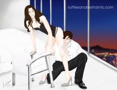 Playful Christian makes an appearance in Fifty Shades Darker as Ana is in the middle of dressing for a masquerade ball. I thought I'd create an illustration capturing a moment from that scene when he gives her outfit a few final touches… ;) -- Victoria