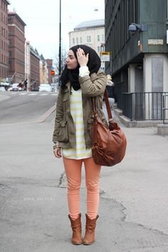 Peach coral pants, olive green cargo jacket