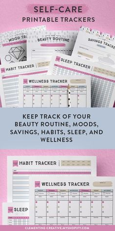 Create your beautiful self-care routine with these printable habit trackers. Includes a mood tracker beauty routine tracker savings tracker sleep tracker habit tracker and wellness tracker. Available from Clementine Creative. Planner Free, To Do Planner, Printable Planner, Happy Planner, Weekly Planner, Free Printables, Beauty Routine Schedule, Self Care Routine, Beauty Routine Template